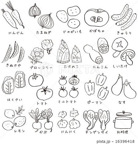 鉛筆で描いた野菜と鍋20種セットのイラスト素材 16396418 Pixta