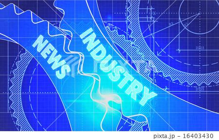 Industry News on the Cogwheels. Blueprint Style.のイラスト素材 [16403430] - PIXTA