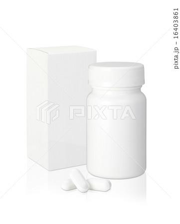 薬/プラスチック製の白い薬の瓶と紙のパッケージと錠剤の写真素材 [16403861] - PIXTA