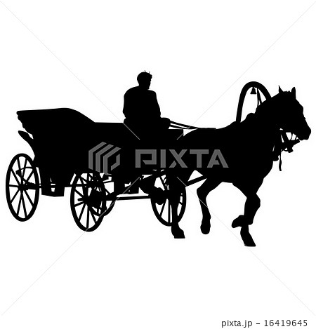 Silhouette  horse and carriage  with coachman.のイラスト素材 [16419645] - PIXTA