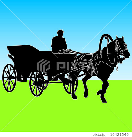 Silhouette  horse and carriage  with coachman. のイラスト素材 [16421546] - PIXTA