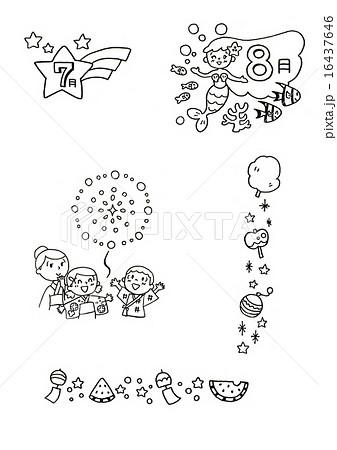 モノクロ イラスト素材 夏のイラスト素材 16437646 Pixta