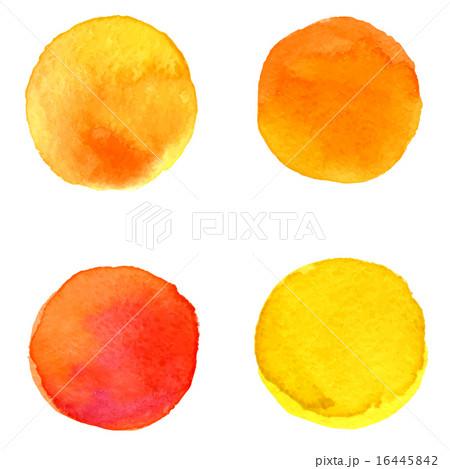 vector set of 4 round orange brush stainsのイラスト素材 [16445842] - PIXTA