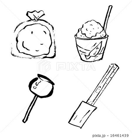 縁日、お祭りの食べ物の筆描きイラスト(モノクロ) 16461439