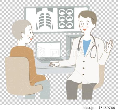 診察を受けるシニア男性イラスト 16469780