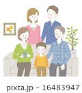 ソファ ベクター 三世代のイラスト 16483947