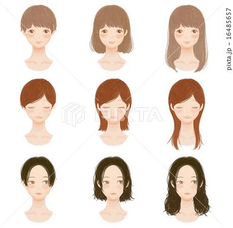 女の子の髪型 Hairstyle Collectionのイラスト素材 [16485657