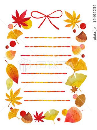 便せん 秋 罫線ありのイラスト素材 16492256 Pixta