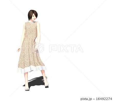 ポーズするかわいいワンピースの女性 Perming3dcgイラスト素材のイラスト