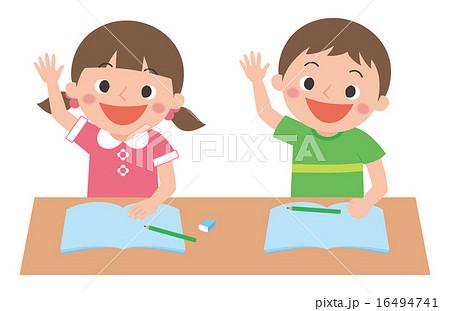 子供の勉強 手をあげるのイラスト素材 16494741 Pixta