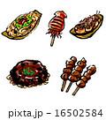 縁日 お祭り 食べ物のイラスト 16502584