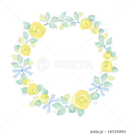 黄いろいバラのリースのイラスト素材 16526960 Pixta