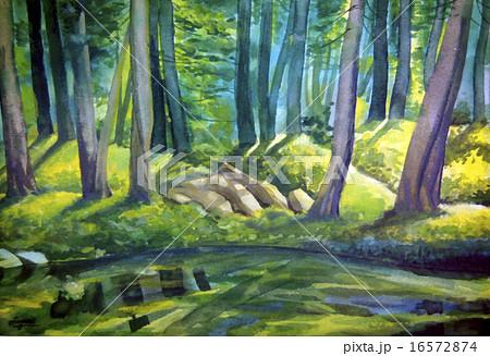 池と森のイラスト素材 16572874 Pixta