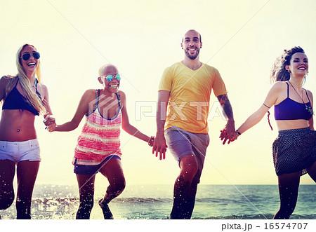 Diverse Beach Summer Friends Holding Hands Concept