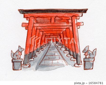 京都 伏見稲荷の鳥居 手描きイラストのイラスト素材 16584781 Pixta