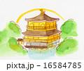 京都 金閣寺 手描きイラスト 16584785