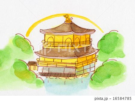 京都 金閣寺 手描きイラストのイラスト素材 16584785 Pixta