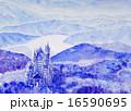 ノイシュバイシュタイン城の雪景色 手書きスケッチ ヨーロッパの古城 16590695