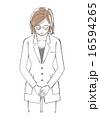 白衣を着た女性イラスト(お辞儀) 16594265