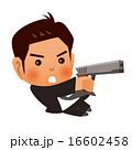 ピストルで撃つスーツの男性 16602458