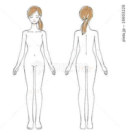 裸の女性全身イラストのイラスト素材