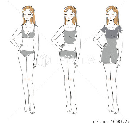 ポージングする女性イラスト3種のイラスト素材