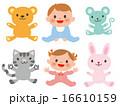 動物と男女の赤ちゃん6種セット 16610159