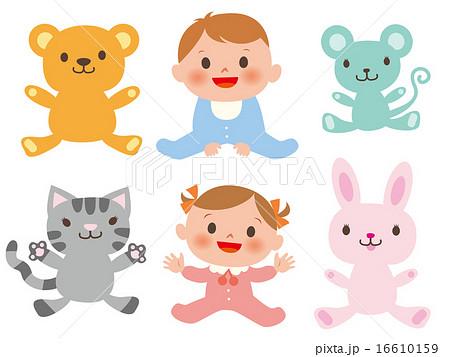 動物と男女の赤ちゃん6種セット