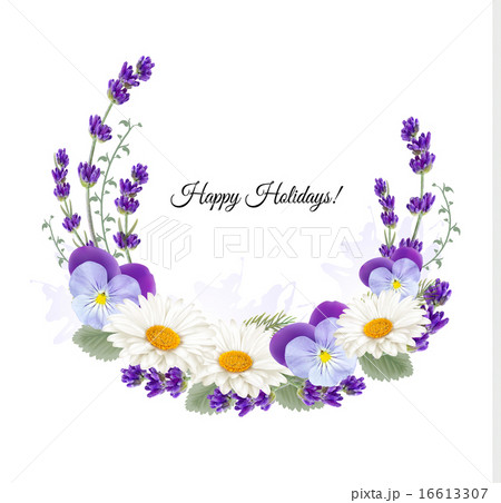 Beautiful holiday greeting card with flower