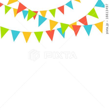 Multicolored bright buntings flag garland on whiteのイラスト素材 [16613497] - PIXTA