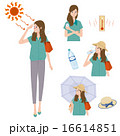 熱中症 対策 女性 イラスト 16614851