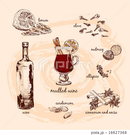 Mulled wine and its componentsのイラスト素材 [16627368] - PIXTA