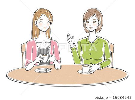 お茶をしながら談笑する女性イラスト 16634242