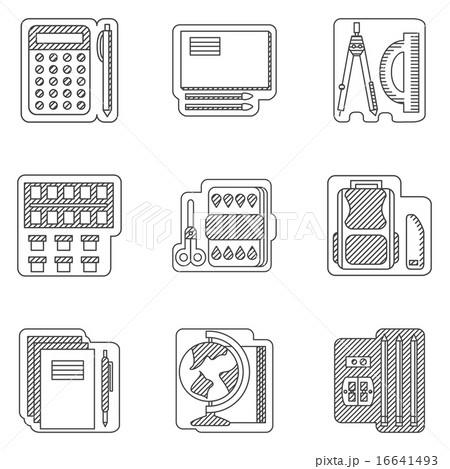 school subjects flat line vector iconsのイラスト素材 16641493 pixta