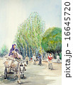 イスラムの人々 水彩画 16645720