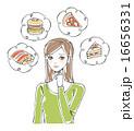 おいしそうな食べ物と女性イラスト1 16656331