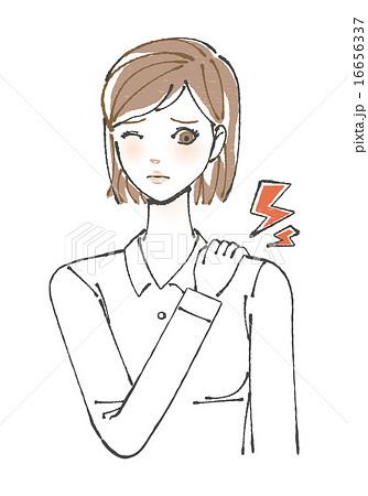肩が痛む女性イラスト 16656337