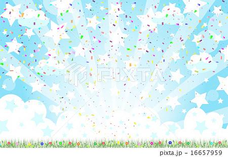 花と星空 紙吹雪のイラスト素材 16657959 Pixta