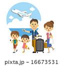 飛行機で旅行にでかける家族【三頭身・シリーズ】 16673531
