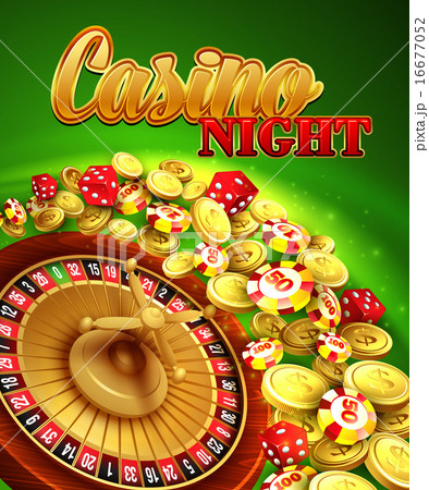 casino night vector illustration with roulette coinsのイラスト素材