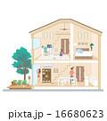 マイホーム 一軒家 家族のイラスト 16680623