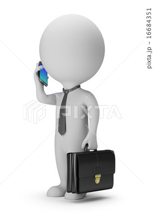 3d small people - businessman with phone 16684351
