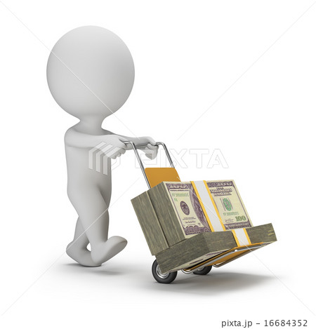 3d small people - money truck 16684352
