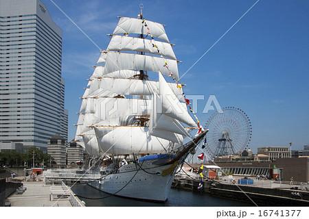 帆船日本丸の総帆展帆・満船飾 16741377