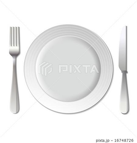 Dinner plate, knife and fork. Vector. 16748726
