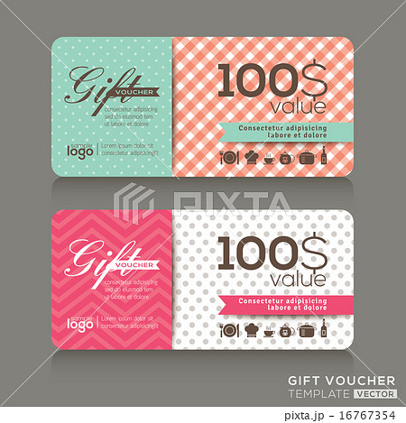 gift voucher certificate coupon design templateのイラスト素材
