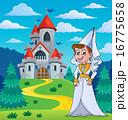 Medieval lady near fairy tale castle 16775658