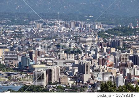 大津市市街地の俯瞰撮影の写真素...