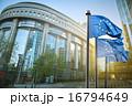 European union flag against parliament in Brussels 16794649