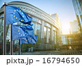 European union flag against parliament in Brussels 16794650